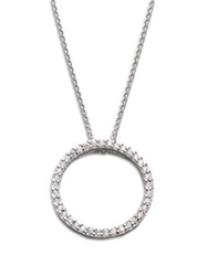 Roberto Coin Tiny Treasures Diamond And 18K White Gold Small Circle Pendant Necklace