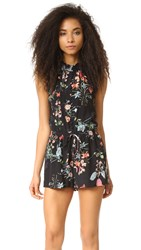 Rebecca Taylor Sleeveless Meadow Romper Black Combo