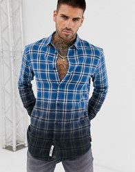 Only And Sons Slim Check Shirt In Dip Dye Fade Grey Navy