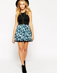 Asos Skater Skirt In Tropical Print With Lace Hem Multi