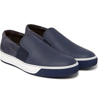 Lanvin Suede And Full Grain Leather Slip On Sneakers Navy