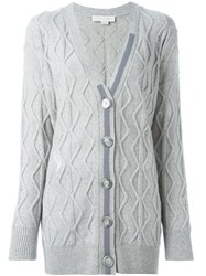 Stella Mccartney Distressed Cable Knit Cardigan Grey