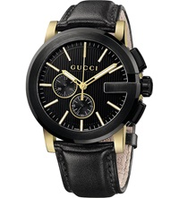Gucci Ya101203 G Chrono Collection Pvd And Leather Watch Black