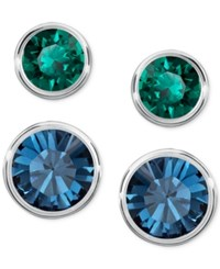 Swarovski Silver Tone 2 Pc. Set Blue And Green Crystal Stud Earrings Multi