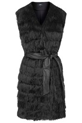 Love Generation Black Fringing Gillet With Leather Pu Waist Tie By Goldie