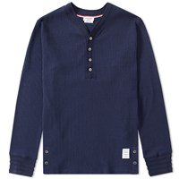 Thom Browne Long Sleeve Jersey Henley Blue