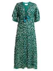 Luisa Beccaria Bow Trimmed Sequinned Chiffon Dress Green