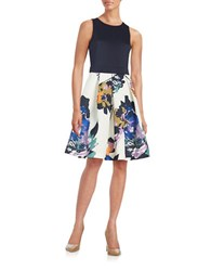 Gabby Skye Floral Fit And Flare Dress Navy Multi