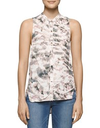 Calvin Klein Jeans Printed Sleeveless Button Down Blouse Cargo
