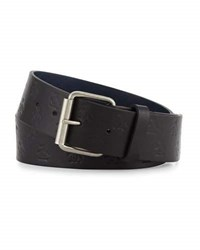 Original Penguin Logo Embossed Leather Belt Black
