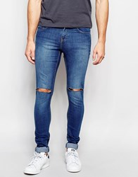 Pull And Bear Pullandbear Super Skinny Fit Jeans With Rips In Dark Wash Blue Blue