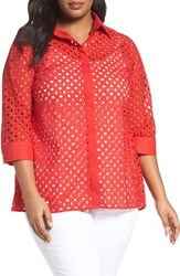 Foxcroft Plus Size Women's Eyelet Cotton Tunic Ruby Red