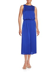 Milly Cropped Stretch Silk Jumpsuit Cobalt Blue
