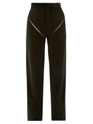 Y Project Cut Out Cotton Corduroy Trousers Dark Green