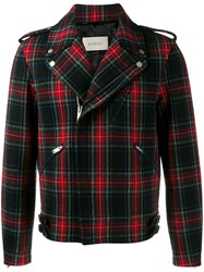 Gucci Plaid Biker Jacket Red