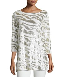 Joan Vass Sequined Animal Tunic Ivory
