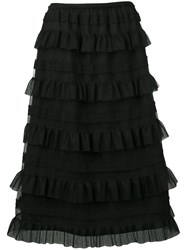 Red Valentino Ruffle Tiered Skirt Black