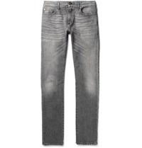 Saint Laurent Skinny Fit 15Cm Hem Washed Denim Jeans Gray