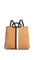 Clare V. Marcelle Backpack Camel Suede W Black And White