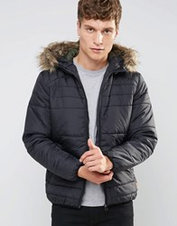 Jack And Jones Padded Jacket With Faux Fur Hood Black