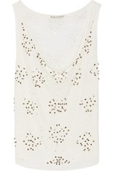 Alice Olivia Lucy Distressed Sequin Embellished Linen Top White