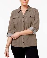 Ny Collection Plus Size Printed Utility Blouse Taupe Line