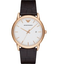 Emporio Armani Ar2502 Gold Plated Stainless Steel And Leather Watch