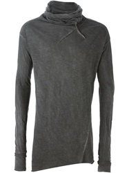 Lost And Found Rooms Cowl Neck T Shirt Grey