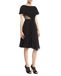 Jason Wu Flutter Sleeve Lace And Georgette Day Dress Black