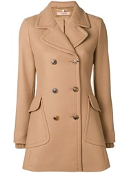 Twin Set Double Breasted Short Coat Brown