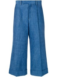Junya Watanabe High Rise Cropped Jeans Blue