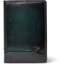 Berluti Jagua Polished Leather Bifold Cardholder Blue