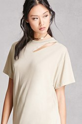 Forever 21 Vintage Ripped Neck Solid Tee Taupe