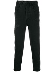 Thom Krom Distressed Cropped Jeans Black