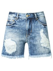 Amapo Distressed Denim Shorts Blue