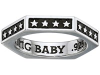 King Baby Studio Hexagon Stackable Ring With Stars Silver Ring