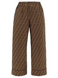 Fendi Ff Print Silk Satin Trousers Brown Multi