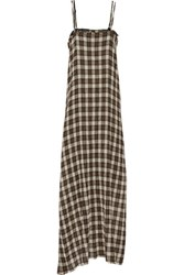 R 13 R13 Layered Checked Wool Blend Gauze And Floral Print Silk Chiffon Midi Dress Multi