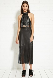 Forever 21 Nightwalker Faux Leather Fringe Skirt Black