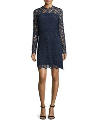 Elie Tahari Priscilla Long Sleeve Lace Cocktail Dress Night Navy