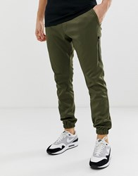 Religion Tapered Fit Joggers In Khaki With Cuff Hem Green