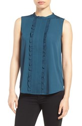 Halogenr Women's Halogen Ruffle Front Tank Teal Abyss