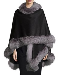 Fox Fur Trim Cashmere Cape Charcoal Grey Sofia Cashmere