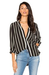 1.State High Low Pocket Blouse Black And White