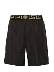 Versace Logo Nylon Long Swim Shorts