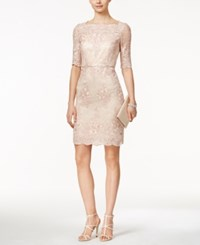 Tahari By Arthur S. Levine Tahari Asl Lace Boat Neck Sheath Dress Blush Pink
