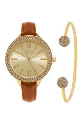 Soandco Women's Soho Crystal Watch Bracelet Set Brown
