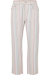Sonia Rykiel Striped High Rise Jeans White