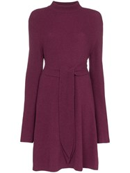 Nanushka Abhaya Knotted Merino Wool Dress Purple