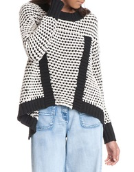 Plenty By Tracy Reese Roundneck Mixed Knit Sweater Ecru Black